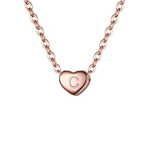 - BriLove 925 Sterling Silver Tiny Initial Heart Necklace for Women Pendant Choker Necklace for Girls Letter C 14K Rose-Gold-Toned
