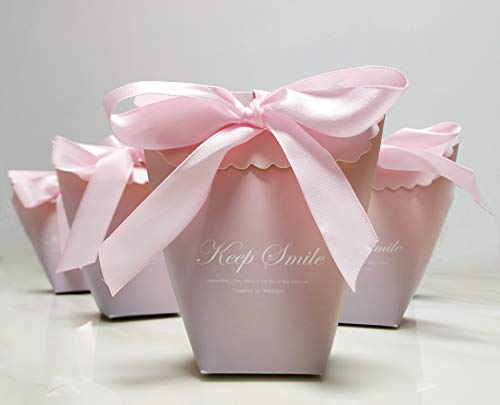 (Pink Candy Boxes Packing Bags(24 Set), Keep Smile Gift Boxes Wedding/Birthday Party, Decorative Presents Bags Bundle for Packing Baking Biscuits/Candy/Chocolate)