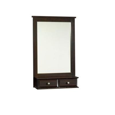 Shoal Creek Collection 42.3 In. H X 27.4 In. W Jamocha Wood Framed Mirror with Storage Drawers by Sauder