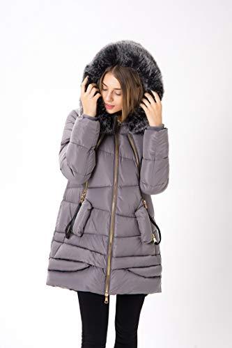 Donna Cappuccio Gaigai Big Piumino Grey Sezione D' Collo Oca Lunga Del Invernale Pelliccia Di Coreana Da Versione wzqYZnxzH