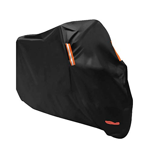 Tokept All-Weather Motorcycle Cover-Heavy Duty Extra Large Black for 108 Inch Motorcycles Like Honda, Yamaha, Suzuki, Harley-ONE YEAR WARRANTY