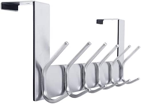 Pack of 2 Dual Hanging Over the Door Hooks Chrome Finish Coat Clothes Hanger