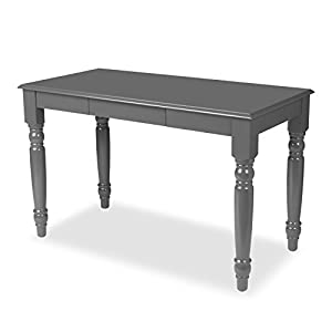 Kate and Laurel Turin Wood Writing Table and Computer Desk with Drawer and Farmhouse Legs, Gray