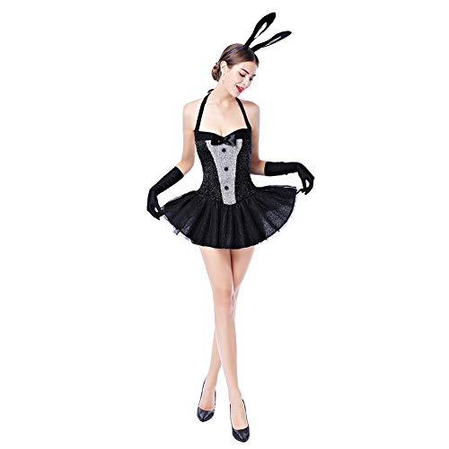 Bunny Playboy Rabbit - Womens Playboy Bunny Costumes Sexy Rabbit Babydoll Cosplay Lingerie Halloween Dress up 3pcs Outfits Nightwear Clubwear with Gloves Black L