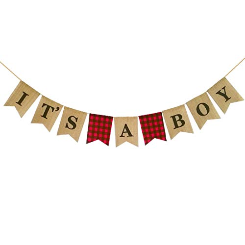Buffalo Banner (MaxFor Lumberjack Baby Shower Banner, Buffalo Plaid Rustic Hunter Theme It's A Boy, Camping Bear Baby Shower Decorations Supplies, Lumberjack Gender Reveal Banner)