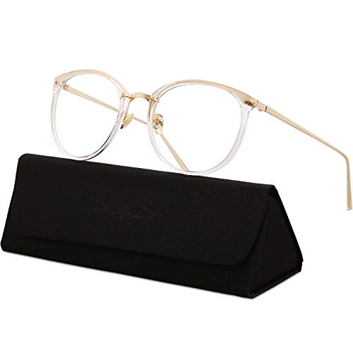 SojoS Round Women Eyeglasses Fashion Eyewear Optical Frame Clear Glasses SJ5969 with Transparent Frame/Gold Temple