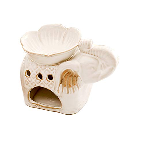 (Jitejoe Ceramic Tea Light Holder, Aromatherapy Essential Oil Burner, Great Decoration for Living Room, Balcony, Patio, Porch and Garden,Elephant Shape Size:5.7 x 3.3 x 3.8(Inch) (White))