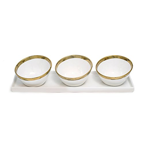 (Yedi Houseware Bone China Collection Sauce Dishes and Tray Gold Trim )