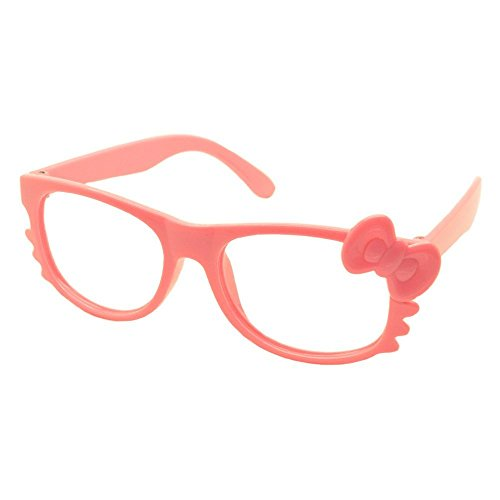 FancyG® Cute Nerd Glass Frame with Bow Tie Cat Eyes Whiskers Eyewear for Kids 3-12 NO LENS - Pink (Cute Girl Nerd Costumes Halloween)