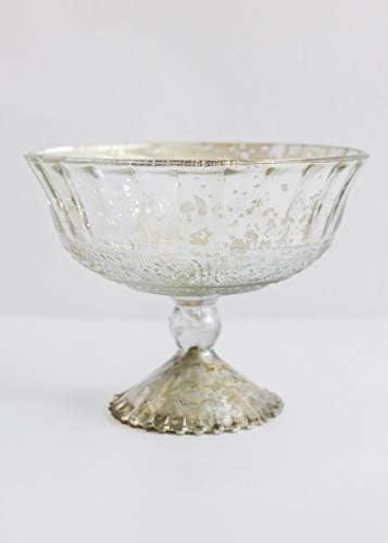 Afloral Silver Mercury Glass Pedestal Compote Bowl – 5