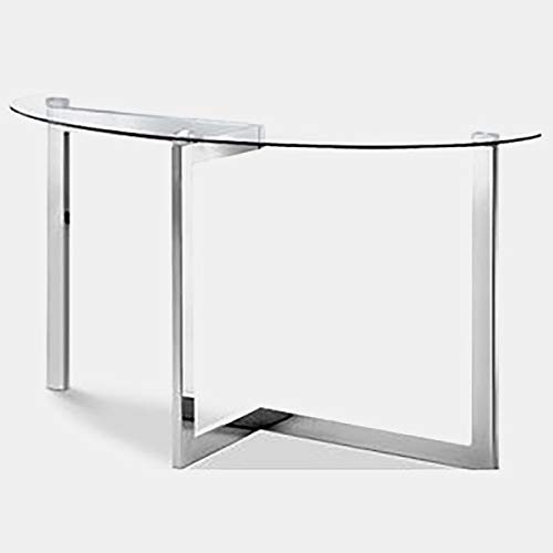 (Metal Console Table with Glass Top - Demilune Console Table - Chrome )