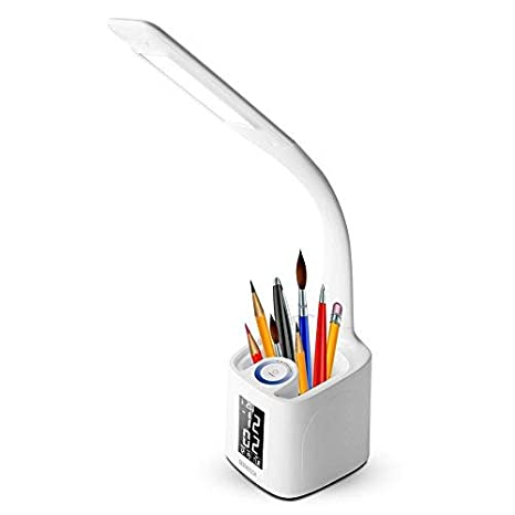 Fabulous Gerintech Led Desk Lamp With Usb Charging Port For Study Dimmable Table Lamp With Clock Pen Holder Thermometer Calendar 7 5 Home Interior And Landscaping Oversignezvosmurscom