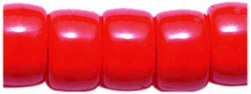 Preciosa Ornela Traditional Czech Glass Crow Roller 50-Piece Beads, 9mm, Opaque Medium Red ()