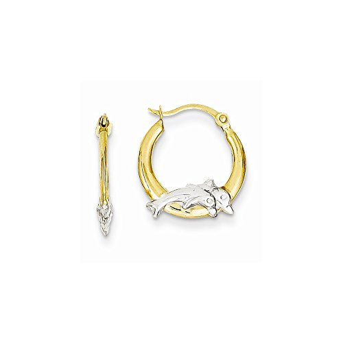 14K Yellow Gold & Rhodium Dolphin Hoop Earrings