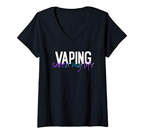 Womens Vaping Saved Me Adults Like Flavors Vape Ban Purple Teal V-Neck T-Shirt (Best Vape Mod For Clouds And Flavor)