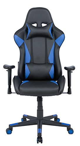 AmazonBasics BIFMA Certified Gaming/Racing Style Office Chair - with Removable Headrest and High Back Cushion - Blue