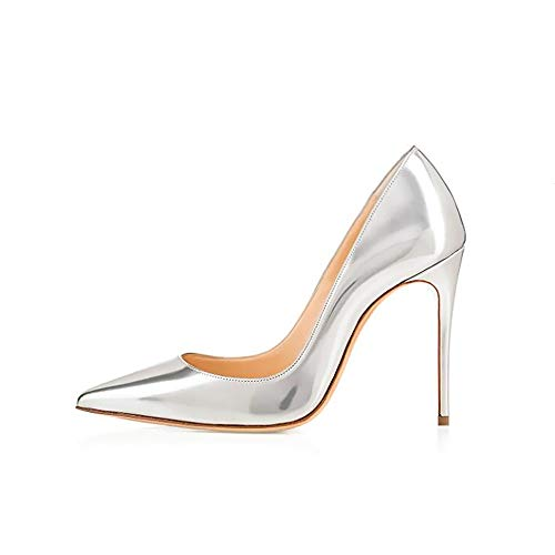 - GENSHUO High Heel, 10cm/3.94 Inch Stiletto High Heel Shoes for Women Pointed Toe Party Evening Dress Pumps Prom 10 cm SR 12 Silver