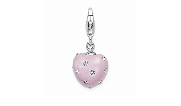 Sterling Silver Click-on White Ferido /& Stellux Crystal Ball Charm