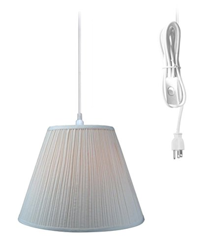 Plug-In Pendant Light By Home Concept - Hanging Swag Lamp Eggshell Mushroom Pleat Shade - Perfect for apartments, dorms, no wiring needed (Eggshell, White One-light) Brass Pleat Shade Plug