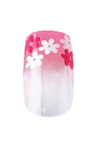Cala Party Nails Pre-glued Nail Set 12pc Red White Flowers 88016 ()