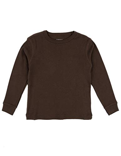 Leveret Long Sleeve Solid T-Shirt 100% Cotton (8 Years, Brown)