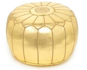 Moroccan Leather Pouf Footstool with Embroidery [STUFFED] Metalllic Gold [SHIPS FROM WITHIN USA]