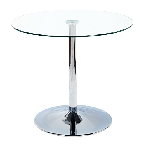 This Minimalist Dining Table, has a Compact Modern Design, with a tempered clear glass table top and chrome base. Seats 4 people. Fits perfect in small apartment kitchen area / dorm or breakfast nook (Small Round Glass Dining Table)