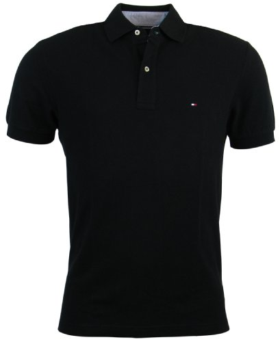 Tommy Hilfiger Men's Classic Fit Solid Color Short Sleeve Logo Polo Shirt - M - Black