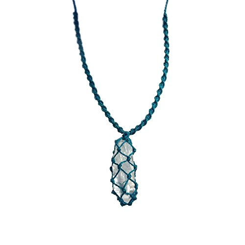 Men Surfer Necklace with Tumbled Quartz Stone and Hematite in Turquoise: Handmade Knotted Fiber Cord Jewelry by Rumi Sumaq