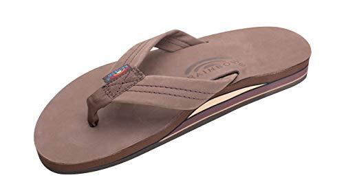 Rainbow Sandals Men's Premier Leather Double Layer with Arch Wide Strap, Expresso, Men's Large / 9.5-10.5 D(M) US (Rainbow Sandals Thin Strap)