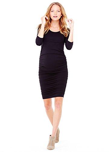 Ingrid & Isabel Women's Maternity 3/4 Sleeve Shirred Dress, Jet Black, Small Shirred Cocktail