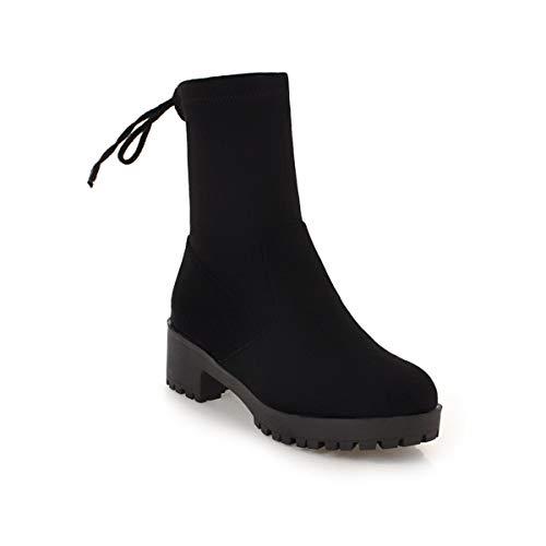 Tacco Tacco Alti Donna con Stivali Tacco da Medio Boots Boots Black Largo Women's gqIYHEI