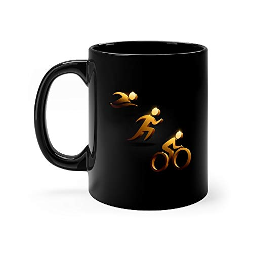 (Triathlon Golden Icons Triathlete Funny Mugs Cups Ceramic Cup 11 Oz)