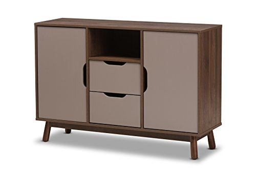 Baxton Studio Gillian Mid-Century Modern Walnut Brown and Grey Two-Tone Finished Wood Sideboard