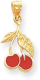 Quality Gold Cherries Enameled Charm, 14K Yellow ()