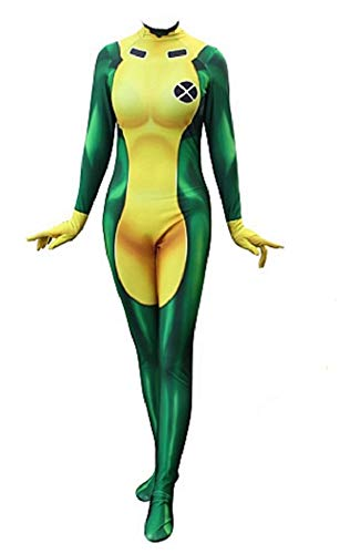 Superhero Rogue Cosplay Costume Womens Full Set Bodysuit Zentai Jumpsuit Female XS