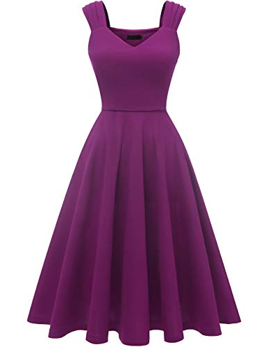 (DRESSTELLS Women's Bridesmaid Vintage Tea Dress V-Neck Prom Party Swing Cocktail Dress Purple 2XL)