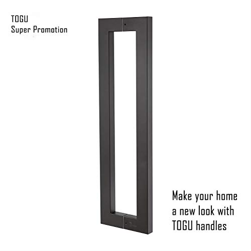 Super Promotion!!!TOGU TG-6013 1200mm/48 inches Square/Rectangle Shape Stainless Steel Push Pull Door Handle for Solid Wood, Timber, Glass and Steel Doors, Matt Black Finish ()