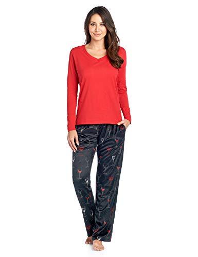 (Ashford & Brooks Women's Long Sleeve Cotton Top with Mink Fleece Pants Pajama Set - Black Wine -)