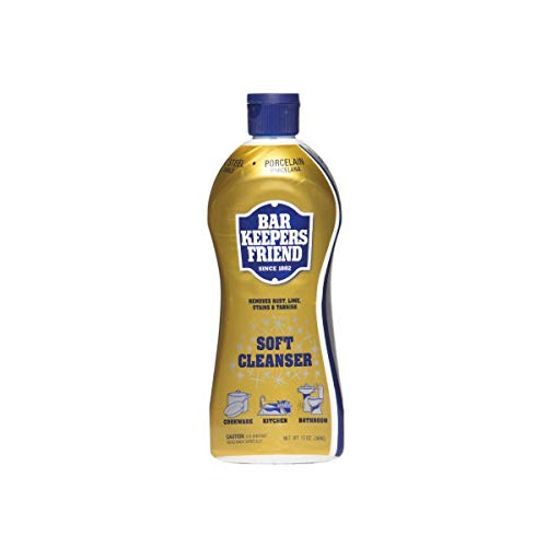 Bar Keepers Friend Soft Cleanser Liquid 13 oz Multipurpose Cleaner & Rust Stain Remover for Stainless Steel Sinks and Countertops, Porcelain and Ceramic Tile, Copper, Brass, and More - Rust Steel Stainless Remover