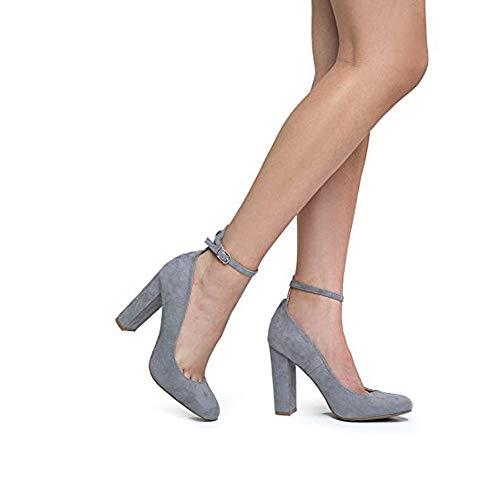 (Emery Ankle Strap Block High Heel, Grey Suede, 8.5 B(M) US)