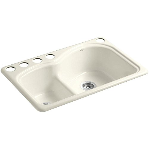 KOHLER K-5839-5U-96 Woodfield Smart Divide Undercounter Kitchen Sink, Biscuit