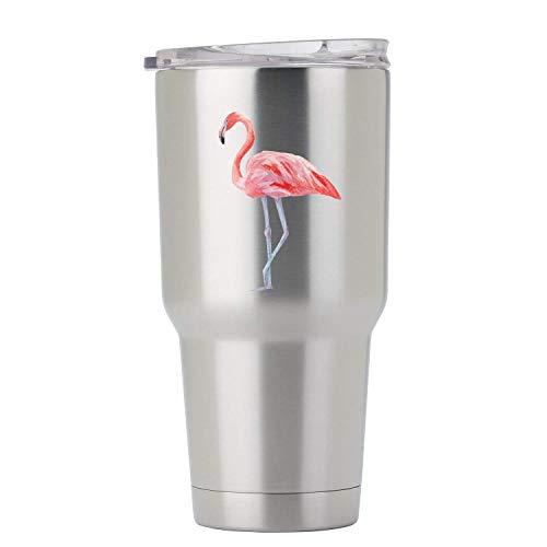 calcomanía de vinilo con diseño de flamenco rosa pintado en acuarela, tamaño para vaso de acero inoxidable