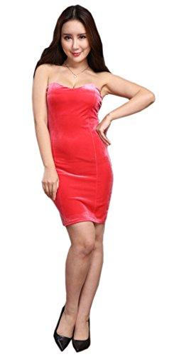 Mini Pink Velvet Elegant Bodycon Party Off Dress Strapless Blansdi Women Cocktail Tube Shoulder 7awxqXn5Rv