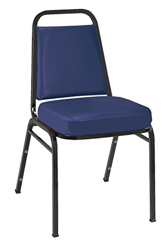 - KFI Seating IM820 Armless Stacking Chair, Commercial Grade, 2-Inch, Navy Vinyl/Black Frame
