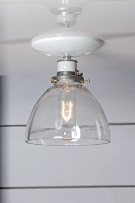 Semi Flush Mount Glass Shade Light - White
