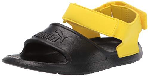Puma Sandals Lightweight - PUMA Unisex Divecat Sport Sandal, Black-Blazing Yellow, 11 M US Little Kid
