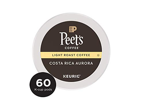 Peet's Coffee, Costa Rica Aurora, Light Roast, K-Cup Pack (60 ct), Single Cup Coffee Pods, Bright, Clean, & Smooth Blend of Costa Rican & Kenyan Coffees with Citrus Notes; for All Keurig K-Cup Brewers (Kcups Peets Coffee)