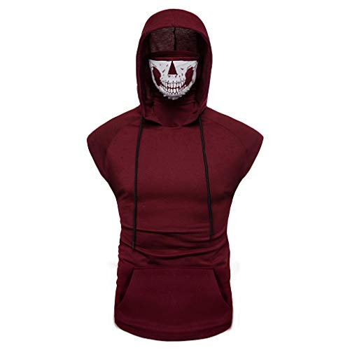 Mens Hooded Skull Mask Fitness Vest Fashion Sports Tank Top Summer Sleeveless Pullover Shirt Gym Riding Wear Red XL]()