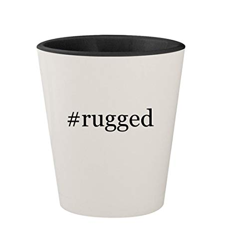 #rugged - Ceramic Hashtag White Outer & Black Inner 1.5oz Shot Glass